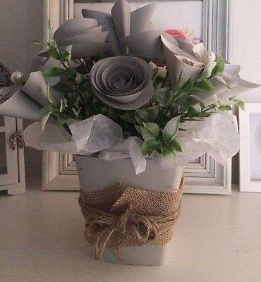 Paper flower bouquet Origami Roses Grey And Cream Shabby Chic