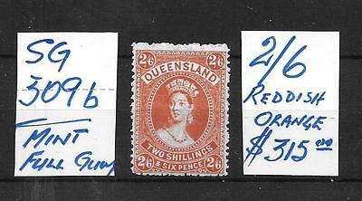 AUSTRALIA STATE STAMP = QUEENSLAND - SG 309b - MINT FULL GUM REDDISH ORANGE $315