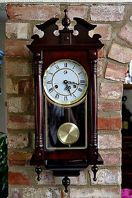 Vintage HW Mahogany Case 31-Day Wall Clock with Chimes & Manual