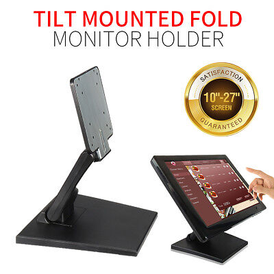 Tilt Mounted Fold Monitor Holder VESA LCD Display Touch Screen Stand 10''-27''