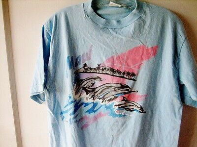 MAUI * Vintage 1984 DOLPHINS T-Shirt by POLY TEES * 80's Hawaii surf  beach *L