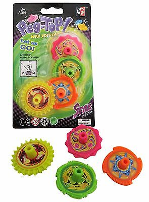 Bulk Lot x 40 (10 Packs) Fluoro Color Spinning Peg Tops Novelty Toy Party Favor