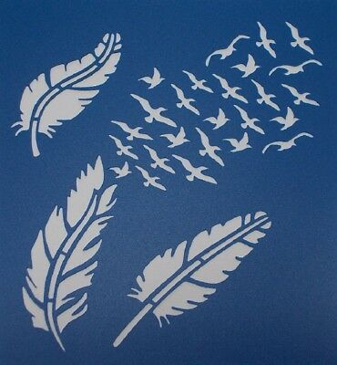 Stencils & Templates - Feather and Birds Stencil