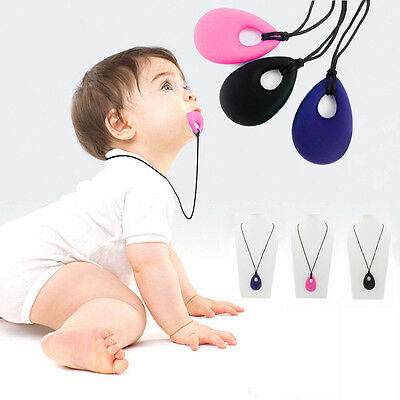 BABY Kids Silicone Teething Breastfeeding Necklace Pendant Chew Chewable Jewelry