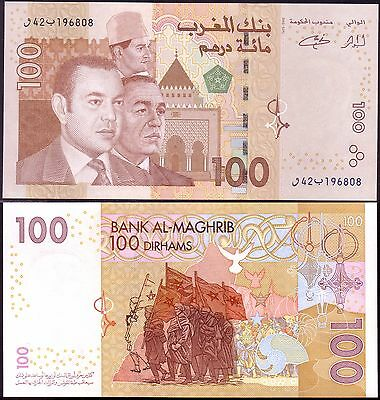 MOROCCO -  Banknote of 100 Dirhams  - 2002 - UNC