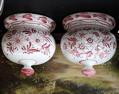 """Pair of Vintage ~ Pottery Wall Pockets Vase ~ 8"""" tall x 8"""" wide ~"""