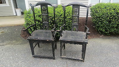 Pair of antique Chinese arm chairs
