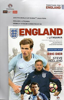 England v Lithuania 26th March 2017 World Cup Qualifier Programme & Teamsheet