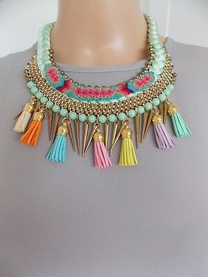 Mint Green Aztec Style Tassel Statement Necklace -UK SELLER
