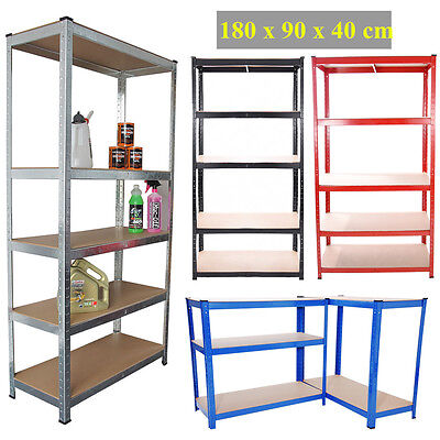 180CM 5 Tier Heavy Duty Metal Shelving Unit Industrial Boltless Racking Garage
