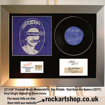 "Sex Pistols *SIGNED STEVE JONES GOD SAVE THE QUEEN* 7"" Vinyl Single Autographed"