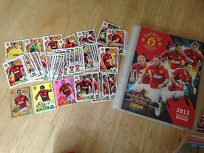 panini adrenalyn XL manchester united 2013 folder and 61 cards