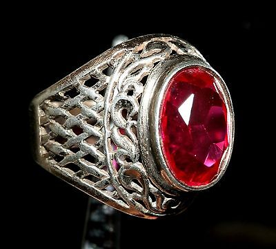 Super beauty rare RUBY stone Size 9 Ring Silver 875 USSR Antique