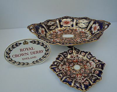 Royal Crown Derby Imari Witches Sweetmeat Footed Dish 6299 + Pin Tray 2451