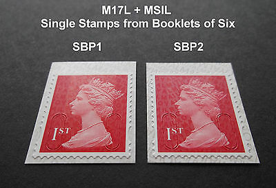 2017 1st Class M17L+ MSIL Machin SINGLE STAMP from BOOKLET SBP1 or SBP2