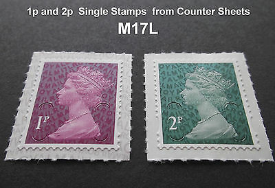 2017 M17L 1p and 2p Machin SINGLE STAMPS from Counter Sheets