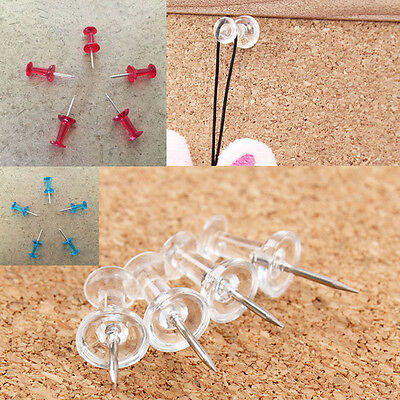 40Pcs New Colorful Transparent Push Pins Notice Board Map Thumb Tacks Office