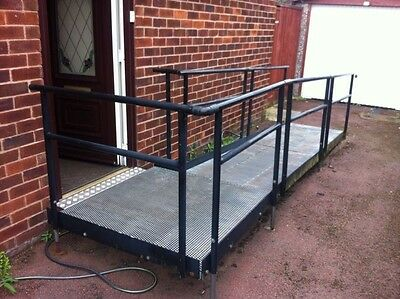 4500mm x 850mm/1200mm Semi-Permanent Disability Wheelchair ramp, Galv. steel.