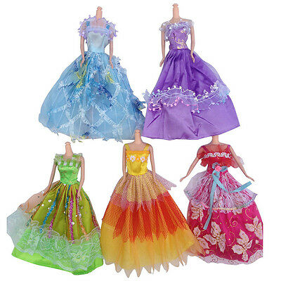 Beautiful Wedding Dress Party Gown Clothes Costume Outfits For Barbie Doll