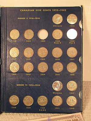 Set of (52) Canadian Nickel, Five Cent Coin s, Canada, 1922 - 1967, VF - UNC