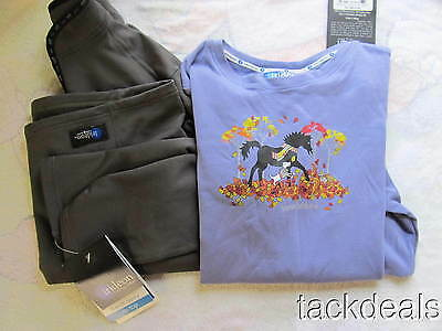 New Kids 1/4 Zip Irideon Pullover & Long Sleeve T Set Horses Riding
