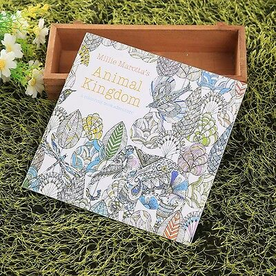 Children Adult English Animal Kingdom Hunt Relax Improve Painting Colouring Book
