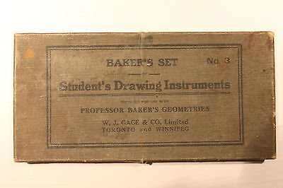 Vintage Baker's Set #3 Student's Drawing Instruments Geometry Boxed Rare