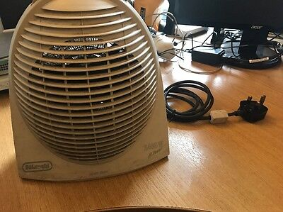 DeLonghi Upright Electric Fan Heater 2400W Portable Compact Powerful - White