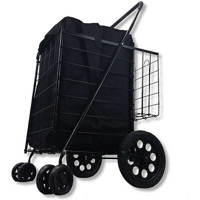 Shopping Cart Wheels Double Basket Folding Rolling Trolley Utility Grocery NEW