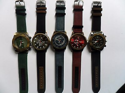 SALE Job Lot of  FIVE Very Smart Bronze Large Faced  NEW Watches  Denim Straps c