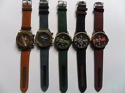 SALE Job Lot of  FIVE Very Smart Bronze Large Faced  NEW Watches  Denim Straps b