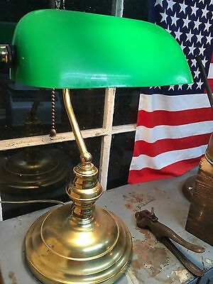 Working Brass Banker Green Glass Shade Collage Student Library Working Desk Lamp