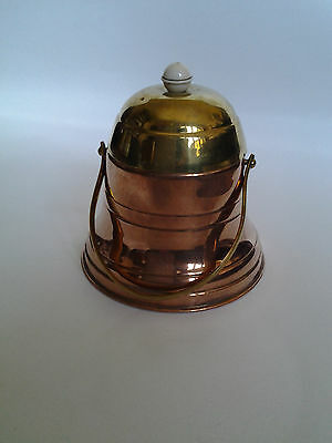 vintage copper & brass bee hive shape tea caddy or honey pot with swing handle