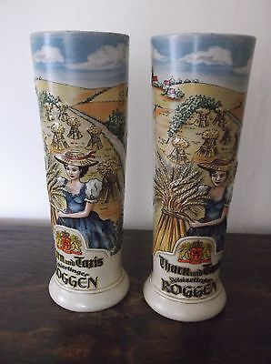 Pair Of Tall Beer Steins Thurn Und Taris Schierlinger Roggen