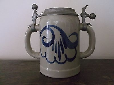 Vintage Twin Handle Salt Glazed Beer Stein