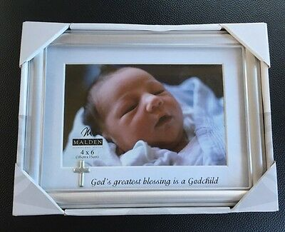Malden International Designs Godchild Charms Picture Frame 4 by 6-Inch Silver
