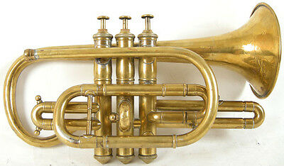Circa 1880s J. Higham Gold-Lacquered Professional Model Bb Cornet
