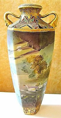 Antique Nippon Fine Double Handled Vase Hp Swan Scene~Moriage Accent Designs