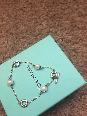 Sterling Silver & Pearl Tiffany & Co. Cushion Toggle Bracelet