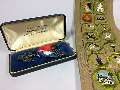 Sterling Robbins Type 2B 1931-1933 Eagle Scout Medal/Case & Sash 24 Badges