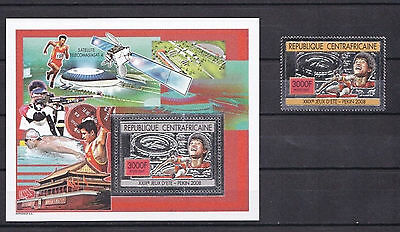 Central African Republic , Olympics 2008 , Stamps + block silver perforated