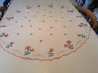 Vintage Stunning Hand Embroidered Bell Flowers Round Linen Tea cloth