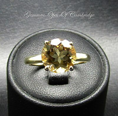 9ct Gold Round cut Citrine Solitaire Ring Size N 2g