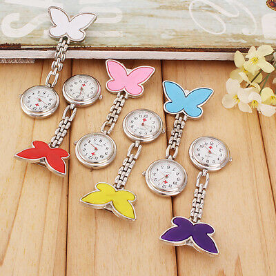 Exquisite Butterfly Nurse Watch Chrome Clip Pocket Watch for Pouch Pocket