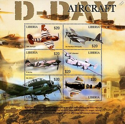 WWII 60th Anniversary of D-Day Aircraft (RAF Spitfire) Stamp Sheet/2004 Liberia