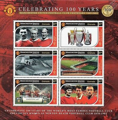 MANCHESTER UNITED Football Club Centenary Stamp Sheet (Man U/Beckham/Charlton)