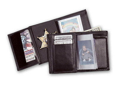 Boston Police Dept recessed wallet with single ID and CC slots, Pic sleeve