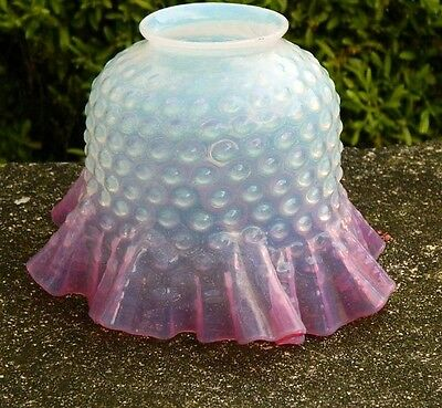 Hobnail Cranberry Opalescent Oil Ruffled Lamp Shade Glass Vintage