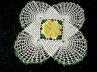 """Ornate Vintage Hand Crochet~3D Doily~Yellow Rose on White~9"""" Square"""