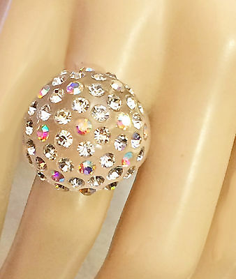 Clear Lucite Acrylic Rhinestone Dome Ring Aurora Borealis & Clear *USA*Gift Box